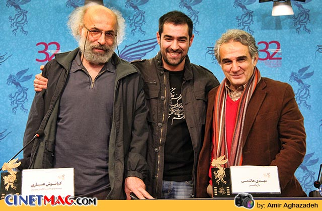 مهدی هاشمی، شهاب حسینی و کیانوش عیاری در نشست پرسش و پاسخ فیلم «خانه پدری» - سی و دومین جشنواره فیلم فجر