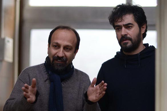 اصغر فرهادی و شهاب حسینی در پشت صحنه فیلم سینمایی
