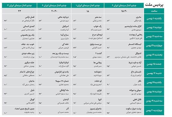 برنامه اکران فیلم ها در کاخ مردمی جشنواره (پردیس سینمایی ملت) در سی و پنجمین جشنواره فیلم فجر