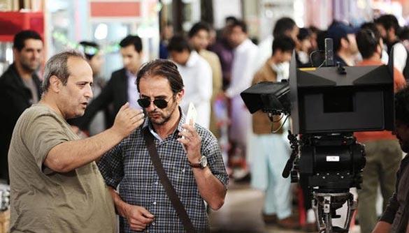 امین حیایی و حمید نعمت الله در پشت صحنه فیلم سینمایی