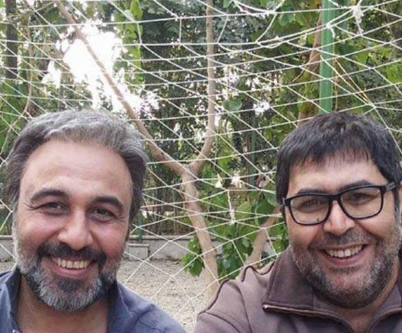 رضا عطاران و فرهاد اصلانی در پشت صحنه فیلم سینمایی
